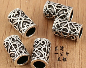 925 sterling beads, sterling silver tube,tube beads,mala beads,tubuli,Thai Silver beads, Cutout beads, hill tribe silver tube beads,