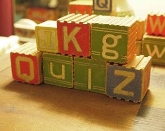 Blocks, Alphabet Blocks, Building Blocks, Wooden Blocks, Antique Blocks, Vintage Blocks, Children's Toy, Collector's Item, 41 Blocks, Toy