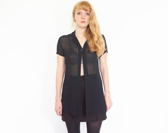 Sheer Black Silk Open Front Blouse