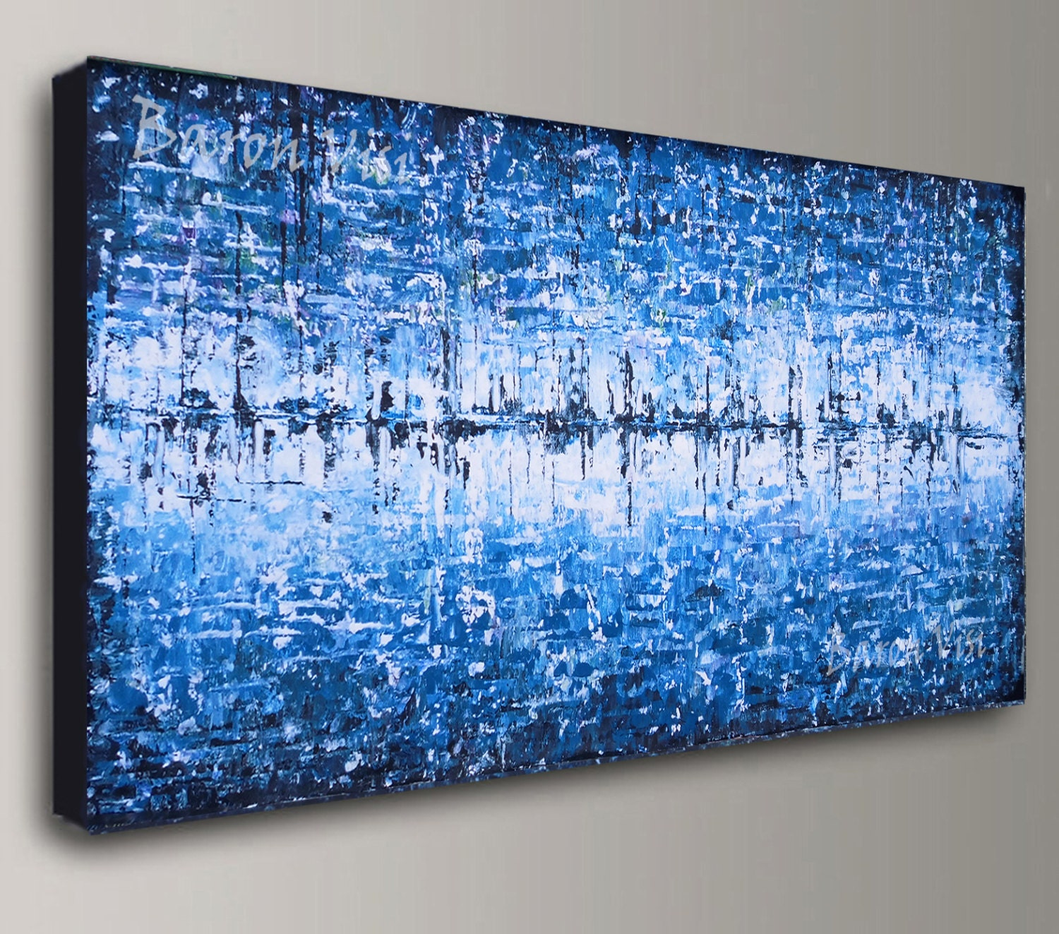 Blue abstract painting acrylic painting art painting white for Blue paintings on canvas