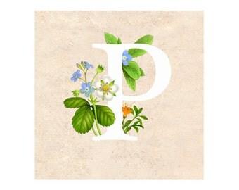 The letter P Alphabet Art Print - Floral letter - Letters Monogram - Floral Alphabet