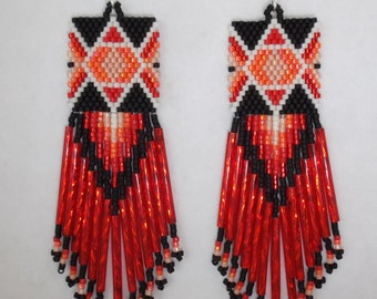 Native American Style Beaded Diamond Rug Earrings Red, Orange, Peach and Ivory Black Southwestern, Boho, Loom ,Geometric, Brick Stitch