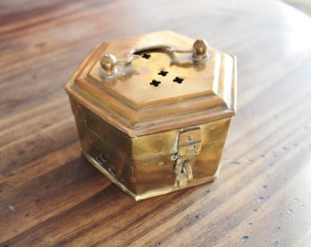 Vintage Solid Brass Cricket Box Octagon