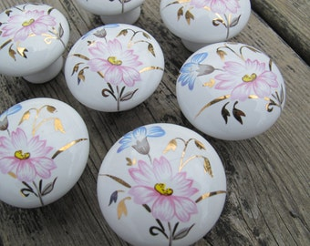 Pink and blue flower drawer pulls (choice of quantity) / floral porcelain drawer knobs / china drawer pulls / 13 in stock