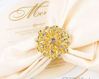 100pcs Wedding Napkin Rings, Rhinestone Napkin Rings Table Decor Wedding Bling, 407-G-N