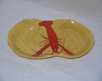vintage 50s lobster divided dish server / Maruhon Ware 1950s Japan / lettuce cabbage leaf / red yellow gold plate