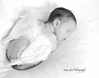 "Baby Newborn Infant Angel Wings Soft, Beautiful, Natural Wings for Professional Photo Prop, Costume 7"" x 7"" Valentine's Day Cupid"