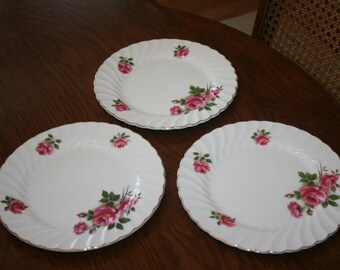 Vintage Johnson Brothers Snowhite Regency Lynmere Ironstone Made in England Set of 3 Three Salad Plates Rose Pink Green Gold Trim