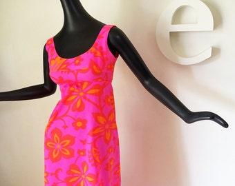 MOD Neon Hawaiian Maxi Dress by Diamond Head Vintage 60s 70s Flower Power Floral Hot Pink & Orange Hippie Tiki Oasis Deadstock NOS Mint XS