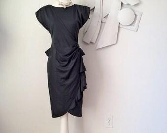 Vintage 1980s Peplum Dress 80s does 40s Little Black Dress Asymmetric Gathered Ruched Side w Shoulder Pads Pencil Skirt Cap Sleeve Size S