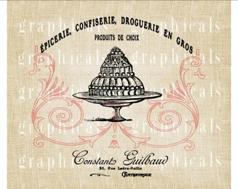 French pink Dessert food Instant digital download image transfer for iron on fabric burlap pillow tote Decoupage Paper Crafts  Item No. 757