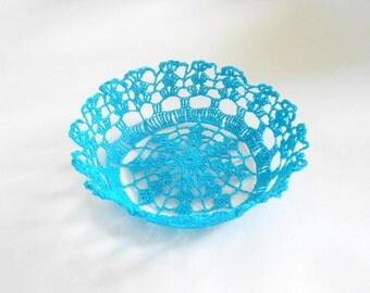 Lace Bowl, Turquoise Crochet Bowl, Stiffen Decorative Bowl, Crochet Filigree Bowl, Centerpiece BowlHome Décor Basket, Crochet Doily Bowl,