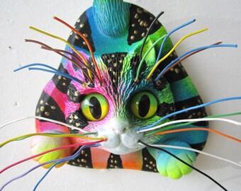 Kitten cat wall sculpture