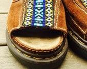 Vintage Dr. Doc Marten Brown Leather Platform 90's Rubber Sole Sandals