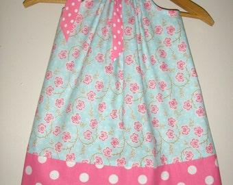 Pink Blue dress floral pillowcase dress  size  8T  READY to ship  pillowcase dress(app.  app. 28 inches