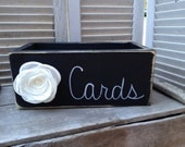 Rustic Black and White Wedding Cards Box, Wooden Wedding Cards Holder, Distressed Cards Box