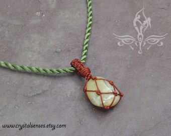 """Yellow Opal Tumbled Stone Macrame Pendant with Necklace 18"""" or key chain variation (TM0104)"""