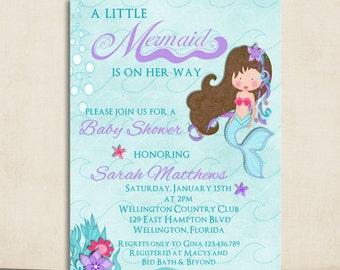 Mermaid Baby Shower Invitation - Teal and Lavender Little Mermaid Printable Invite