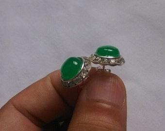 jade earring  -pair of 10mm green jade stud earrings