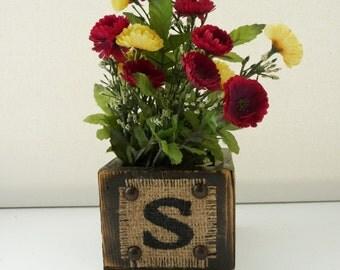 WEDDING sign rustic Wood Wedding Planters, vintage look boxes, monogram burlap, guest book pen holder, desktop, BURLAP Box, RUSTIC burlap