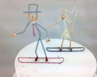 Handpainted Snowboarder Wedding Cake Toppers