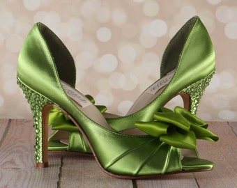 Green Wedding Shoes -- Leaf Green D'Orsay Style Peeptoe Custom Wedding Shoes with Green Crystal Covered Heel and Double Bow on Toe