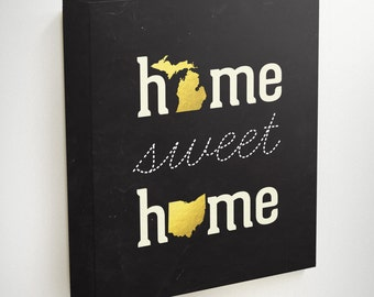 Home Sweet Home Wall Art, Two States Love, Long Distance Boyfriend Gift, Map Wedding Gift, Two State Art, State Map Art, Map Canvas, Map Art