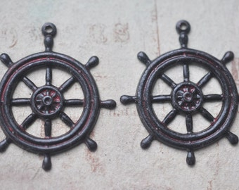 TWO Steampunk brass pirate ship wheel charms, Wicked Sassy Patina