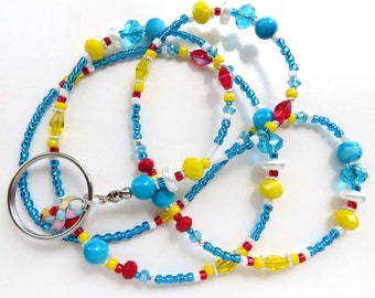 AUTISM AWARENESS- Beaded ID Lanyard-  Preciosa Czech Beads and Crystals, and Pearls (Comfort Created)