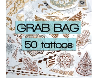 50 pieces of gold, silver metallic tattoos with turquoise highlights - party favours, flash, festivals, grab bag, bachelorette, gifts, beach