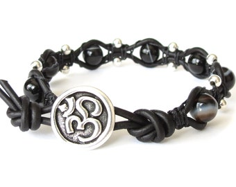 Om Yoga bracelet with black sardonyx and sterling silver beads, macrame leather wrap with meditation theme, Yoga gift for best friend