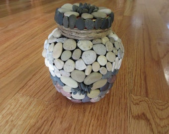 Handcrafted Upcycle Pebble Mosaic Jar One of a Kind Original