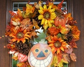 HAPPY PUMPKIN Fall, Halloween or Thanksgiving Wreath with Sparkly SUNFLOWERS and Colorful Leaves