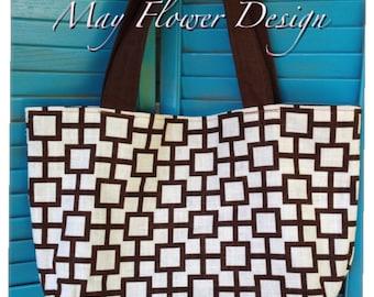 Beige and Brown Geometric Pattern  Handmade Bag / Tote Bag / Purse
