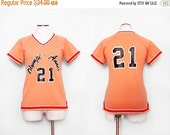SALE 1970s Orange Varsity Jersey / Small Medium