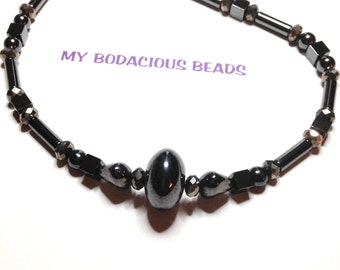 """Handmade 20"""" NECKLACE  HEMATITE and FACETED Swarovski Crystals Fancy Hook Closure"""
