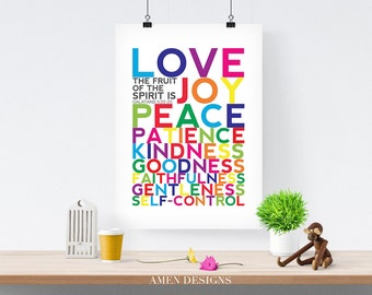 Fruit of the Spirit. Galatians 5:22-23. PRINTABLE DIY Christian Poster. Nursery Decor. 8x10. Bible Verse.