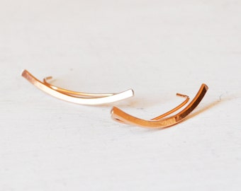 Minimalist Rose Gold Ear Climbers, Simple Gold Filled Ear Cuff, Rose Gold Ear Crawlers, Ear Sweep, Rose Gold Ear Bar