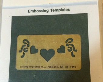 Heritage Handcraft  Brass Stencil  Hornizontal Hearts and Ribbon Dry or Wet Emboss  Stencil/template  hearts
