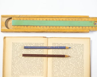 Retro pencil box, wooden pencil case and ruler cm, Soviet pencil holder, sliding top pencil case, art drawing supplies, back to school