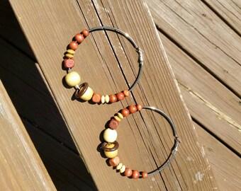 Large Beaded hoop earrings