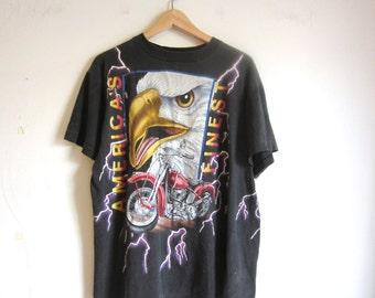 vintage american thunder shirt / harley shirt / motorcycle shirt small medium