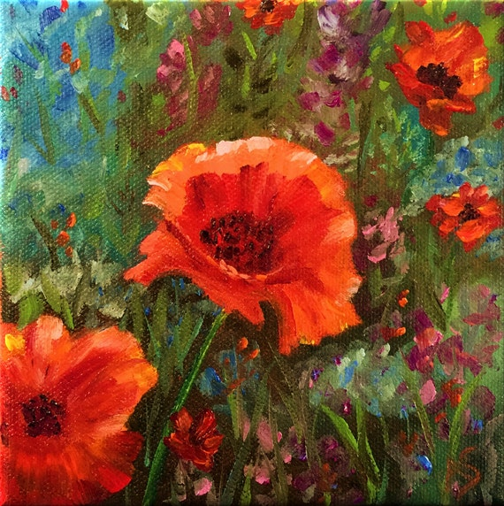 Poppies, Original Hand Painted Oil Painting. Fine Art, Home Decor, size 6 x 6 canvas