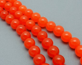 Dyed Jade Beads -- Bright Red Dyed Jade Round 10mm Beads--  STRAND (S93B5-02)