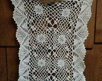 Vintage Crocheted Oblong Doily