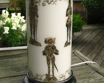 Piero Fornasetti Style Table Lamp Medieval Knights in Armor Black & Gold on White -Mid Century Mod