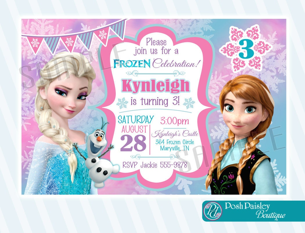Frozen Birthday invitation Digital Copy by PoshPaisleyBoutique