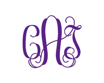 3 inch VINE Style Monogram Decal - Car Decal - Monogram Decal - Vinyl - Computer Decal - Notebook decal - Back to school labels