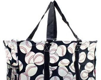 Monogrammed Utility Tote - Baseball MOM - Baseball or Softball Tote - Carryall Tote -Car Organizer - Back to School - Coaching Bag
