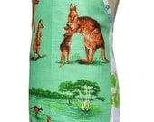 Metro Retro Tea Towel ''Australian Kangaroos'' Vintage Tea Towel Kitchen Apron - Birthday Christmas Gift Idea  - OOAK, upcycled.
